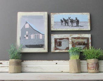 "home decor - a 3 piece wall collage - ""Who Left the Barn Door Open ""- farmhouse decor - donkeys"