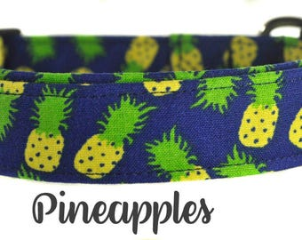 "Navy and Yellow Pineapple Dog Collar ""The Pineapples"""