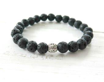 Mens Black Lava Bracelet, Mens Stacking Bracelet, Matte Black Bracelet for Men, Beaded Lava Bracelet, Lava Rock Bracelet, 8mm, Distinctive