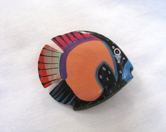 Colorful black, orange, pink blue painted fish brooch fish pin