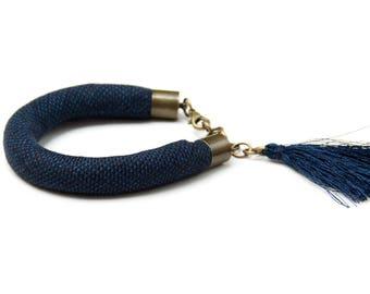 TASSEL bracelet, cotton  bracelet, summer accessories, braided bracelet , bracelet with tassel, braided bracelet, navy blue linen bracelet