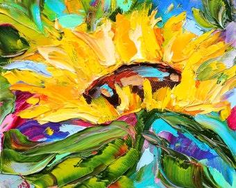 Sunflower painting original oil 6x6 palette knife impressionism on canvas fine art by Karen Tarlton
