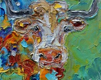 Longhorn painting original oil 6x6 Texas Cow palette knife impressionism on canvas fine art by Karen Tarlton
