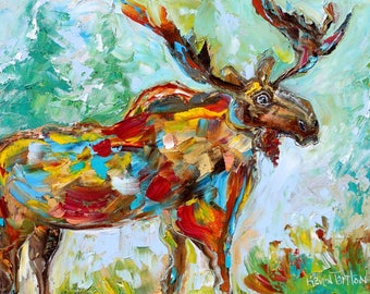 Wild Moose abstract painting original oil on canvas palette knife 12x16 impressionism fine art by Karen Tarlton