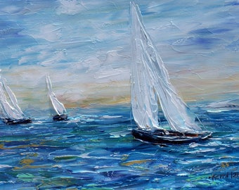 Sailing Boats High Sea painting original oil on canvas palette knife abstract impressionism fine art by Karen Tarlton