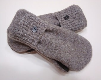 Beautiful browns, medium large mittens, recycled sweaters, women's mittens, fleece lined mittens, mittens with buttons
