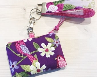 Floral Coin Purse with Wristlet Birds & Paisley Blue Tooth Case  - Purple Pink - Key Fob