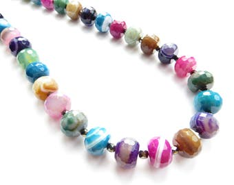 Rainbow Agate Statement Necklace Made With Genuine Semi Precious Stones, Chunky Necklace, Real Stones, Colourful Statement