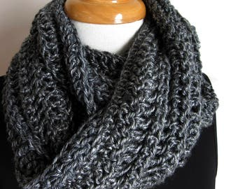 Super Long Gray Crochet Loop Scarf - Grey Knit Cowl - Chunky Scarves - Australia