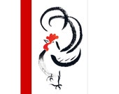 Rooster, Year of the Rooster card 2017, Chinese new year card w/ red envelope, from original sumi ink painting, new baby, Losar