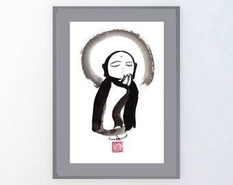 Jizo, Baby Buddha Painting, Zen Fine Art Sumi e ink Buddhist art Painting, zen decor, japan scroll art, enso, tao, nursery, child art