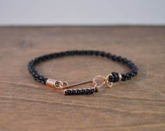 Leather Hook Bracelet - 14k Rose Gold Fill, with Black Tourmaline, and Black Leather - Men's & Women's Sizes