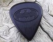 Wood Guitar Pick - Premium Quality - Handmade From African Blackwood - Laser Engraved On Each Side - Artisan Guitar Pick - Batman Tribute