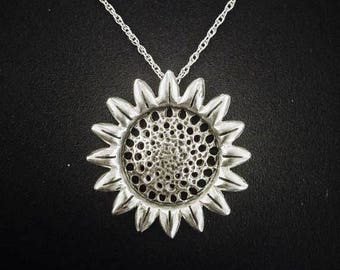 Sterling silver Sunflower necklace, Sunflower jewelry, Flower neckles, Flower jewelry