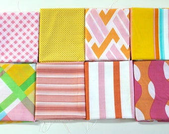 Vintage bed sheet Fat Quarter set 8 reclaimed bed linen fat quarters pink yellow orange retro mod plaid stripe geometric quilting fabric