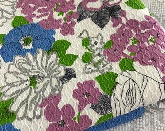 Vintage 1960's Groovy Retro Waffleweave Cotton Fabric Floral Crantex