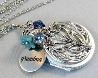 Blue Flowers For Mom,Mom Necklace,Jewelry for Mom,Mothers Day,Mom Locket,Mom Jewelry,Mom Necklace,Mother,Flower Jewelry,Flower Garden