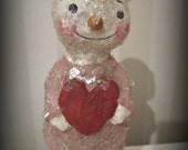 Valentine snowman Paper mache Christmas Snowman Snowgirl folk art OOAK
