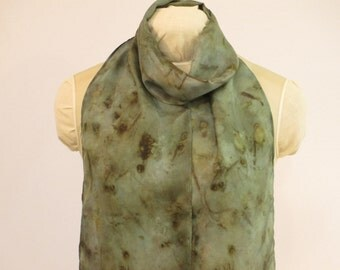 "Silk Scarf - Eco Fashion - Nature Lover Gift - Indigo Blue-Green Brown -  HA8121605 - 8""x70"" (20 x 177cm)"