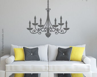 Chandelier Wall Decal, Chandelier Wall Sticker, Chandelier Silhouette,  Living Room Bedroom Decor Wall