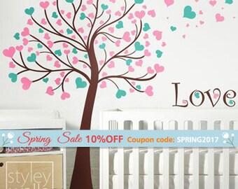 Tree Wall Decal, Tree with Hearts Wall Decal, Tree Wall Sticker, Hearts Wall Decal, Hearts Wall Sticker, Love Tree Nursery Wall Decal