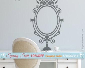 Mirror Wall Decal, Mirror Wall Sticker, Bedroom Wall Decal, Bedroom Wall Decor, Victorian Style Mirror Wall Decal, Woman Wall Decal