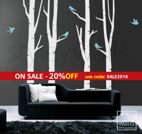 Winter Trees Wall Decal, Birch Trees Wall Decal, Birds in Winter Tree Wall Decal GIFT BIRDS Nature Wall Decal, Forest Birch Trees Stickers