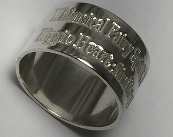 Argentium silver wide band, engraved ring, personalized chunky silver band, 12mm wide