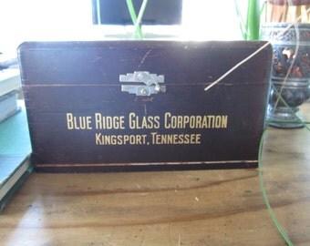 Vintage Wood Box Blue Ridge Glass Tennessee Rustic Divided Wood Treasure Box