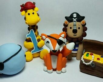 Animal Pirate Birthday Cake Topper