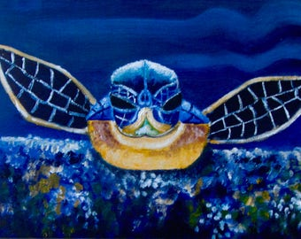 "Original oil painting of baby sea turtle, on 9X12"" canvas board."