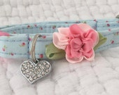 Cat Collar Shabby Blue with Baby Rose Buds with Bell  Cat  Breakaway Collar Custom Made