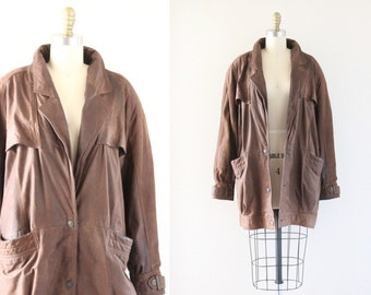 S A L E 1980's oversized distressed leather bomber coat