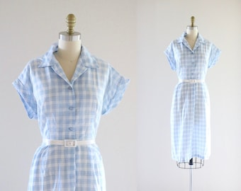 1950's cotton work dress - xl