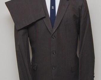 1950-60s men's brown wool 2 piece suit/ 50-60s men's brown suit/ Botany 500