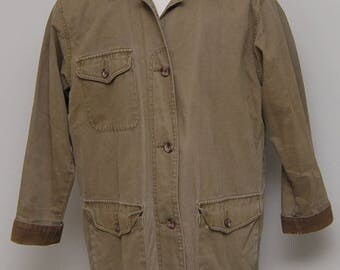 Brown cotton and corduroy blanket lined jacket/ Eddie Bauer