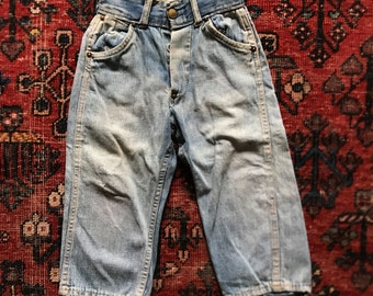 Vintage 1940s toddler denim jeans / Donut buttons and copper rivets / Perfectly faded worn in denim / 19 inch waist