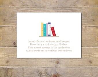 Bring a Book Baby Shower,  Bring a Book Insert Card, Bring A Book, Books, Baby Books, Book Request, Request a Book