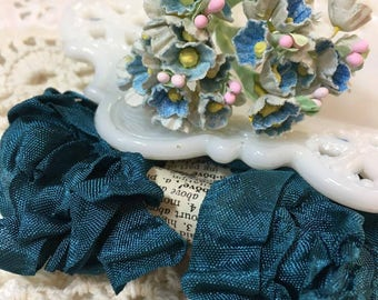 Shabby Agean Blue/Green Crinkled Seam Binding Trim