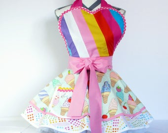 NEW Ready to Ship Soft Serve Ice Cream Cones Apron by Dots Diner