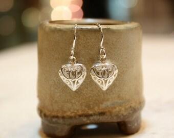Silver Heart Filigree Minimalist Sterling Silver Earrings