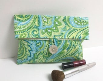 READY TO SHIP - Green and Turquoise Paisley Makeup Bag