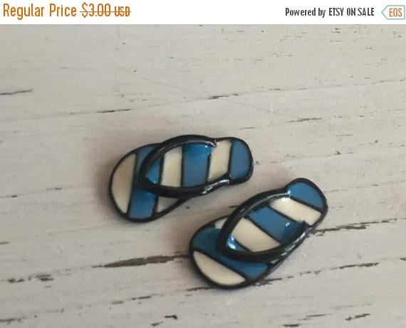 SALE Miniature Flip Flops, Blue and White Stripe Flip Flop Shoes, Dollhouse Miniature, 1:12 Scale, Dollhouse Accessories, Decor, Mini Shoes