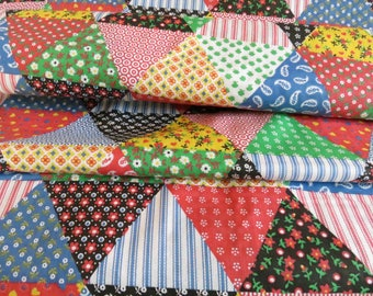 Vintage Cheater Cloth Patchwork Quilt Squares Printed Fabric 6 yards