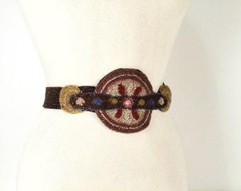Vintage 20s Belt, Beaded Belt, Multicolor, Glass Beads, Flapper Belt, Roaring 20s, Hand Beaded, Hip Belt, Zelda and Louise and Clara Too!