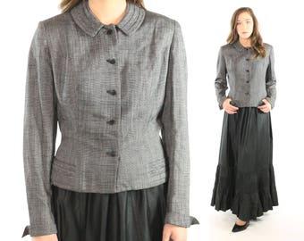 1950s Blazer Jacket Black White Flacked Salt Pepper Nipped Waist Blousey Back Vintage 1950s Medium M