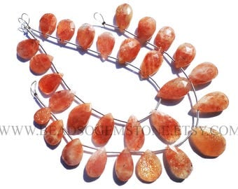 Sunstone Faceted Pear (Quality B) / 10x14 to 11x19 mm / 18 cm / SU-062