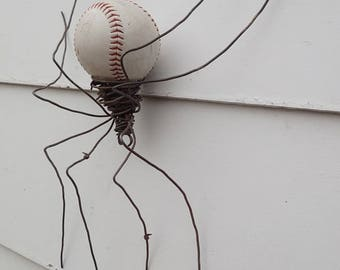 Large Softball and Barbed Wire Spider Repurposed Wire Art