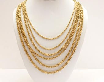 Vintage 6 Strand Double Loop Gold Chain Statement Necklace - 21 to 29 Inches