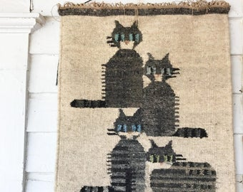 Vintage cat wall weaving, hanging
